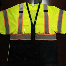 Защитная футболка с отражающей защитной полосой 100% Полиэфирная трикотажная ткань