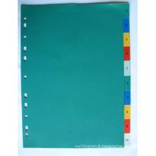 10 pages couleur PP Index diviseur avec numéro imprimé (BJ-9021)