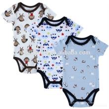 0-3 месяцев мягкий стильный органического хлопка мальчик одежда детская одежда набор печатных комбинезон
