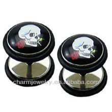 Mode Symbole Skull Fake Ear Plug Earrings 1.2x6x10x10mm Silver Stainless Steel - Standard 16 Gauge (00 G