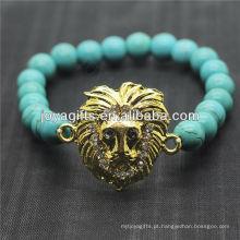 Turquesa 8mm rodada grânulos esticar pulseira de pedras preciosas com diamante liga cabeça de leopardo