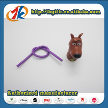 Plastic Animal Toy Mini Dog Figurine with Elastic Pencil