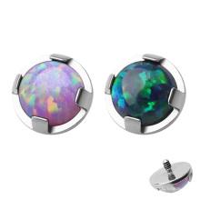 ASTM F136 Titanium Prong Set Opal Micro Dermal Anchor Top Piercing Jewelry