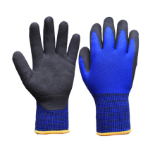 Winter Working Gloves with 3/4 Coated with Black Sandy Nitrile on Palm (N1612)