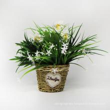 Deluxe designer home decor artificial silk plants wall basket