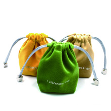 Custom Logo Colourful Drawstring Gift Small Packaging Pouch Velvet Jewelry Package Bag