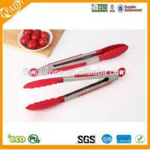Pinzas de alimentos de grado de silicona Tongs de agarre de la cocina Pinzas de cocina de agarre de silicona / Pinzas de alimentos de acero inoxidable