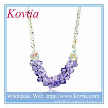 ГОРЯЧЕЕ кристаллическое и пурпуровое кристаллическое нигерийское ожерелье шариков венчания в шнуре стерлингового серебра 925