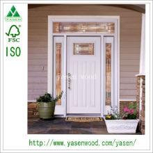 Porta de madeira maciça de entrada não padronizada branca