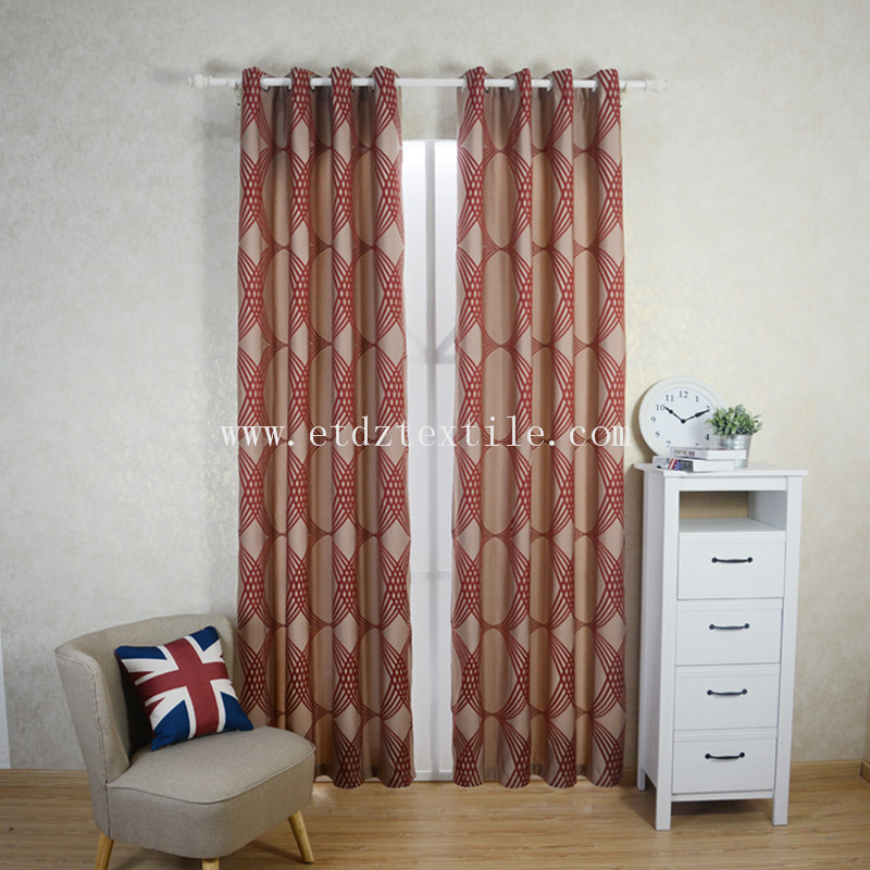 Traditional Red Color Polyester Shrinkage Yarn Curtain Fabric WZQ202