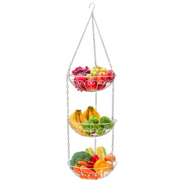 Modern 3-Tier Fruit Bowl Metal Fruit Basket Bread Storage Dining Table Kitchen Vegetable Basket