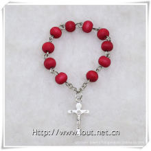 Wooden Beads Finger Rosary with Cross, Wooden Finger Rosary (IO-ce085)