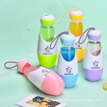 BPA free Lovely glass bottle bowling ball shape water bottle with rope handle