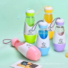 Garrafa de água bonita da forma de bola de bowling da garrafa de vidro de BPA livre com punho da corda