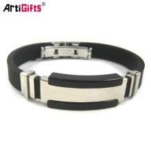 High quality metal clasp silicone bracelet