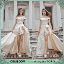 Einfache Brautkleider Kleider sexy hohe Schlitze Braut Kleid seidig Satin Brautkleid Brautkleid