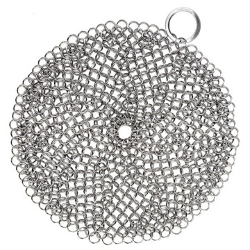 stainless steel mesh chainmail /cast iron cleaner xl 7x7 steel chainmail scrubber/steel chainmail scrubber