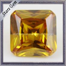 Amarillo princesa Cut cuadrado cúbicos Zirconia piedras preciosas para la joyería