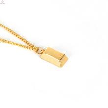 O lingote feito sob encomenda da barra do tijolo do ouro personaliza a colar