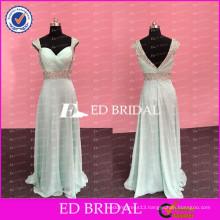 ED Bridal Elegant A-line Cap Sleeve Open Back Beaded Chiffon Beach Long Women Dresses