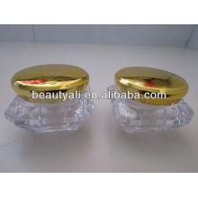Diamond Cosmetic Acrylic Jar With Electroplating Cap