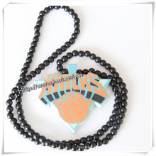 Fashion Natural Wooden Pendant with Wooden Beaded Necklace Chain (IO-wn016)