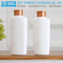 QB-C série 360ml 400ml forma oval matt PEAD plástico xampu garrafa branca com tampa flip-top