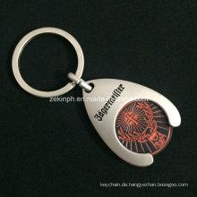 Benutzerdefinierte Trolley Coin Schlüsselanhänger mit eingelassenen Logo mit Matt vernickelt für Förderung
