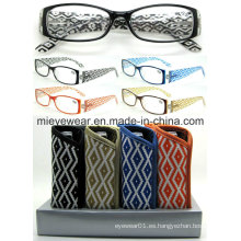 Plástico rayas lentes de lectura de señoras con disply (MRP21672)