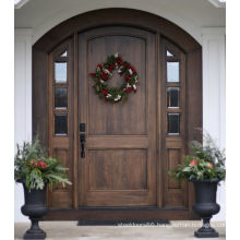 Oak Front Wooden Door Set Exterior Glass Door Arch Top