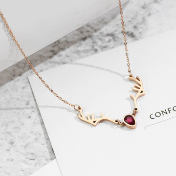 New Style Ruby Crystal Rose Gold Geweih Halskette