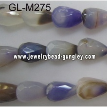 Teardrop facted agate bead-purple