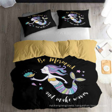 3D Printed Bedding Set with Mermaid Princess, Also Suitable for Duvet Cover