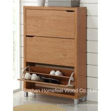 Cabinet de chaussure en bois de haute qualité en bois à 3 tiroirs (SC03)