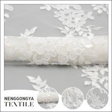 Bulk wholesale custom flower embroidery white wedding decoration fabric