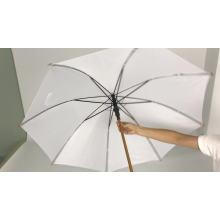 Высокое качество, деревянная ручка, рамка из полиэстера, открытый модный солнечный белый зонт для женщин