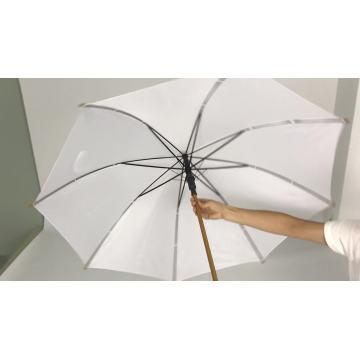 Hochwertiger Holzgriffrahmen Polyestergewebe Outdoor Mode Sonne weißer Regenschirm für Frauen