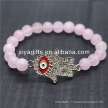 Diamante Evil Eye avec bracelet en stretch de pierre semi-précieux 8MM
