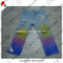 custom kids distressed tye dye rainbow denim jeans