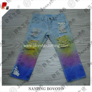 Summer blue long cotton dyed sequin pants