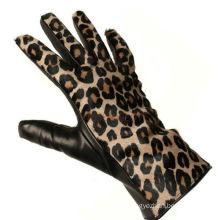 Leopard style fleece lined leather opera glove