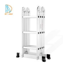 Aluminum Ladder Bookcase with 4*4 steps, ladder multipurpose, aluminum foldaway ladder