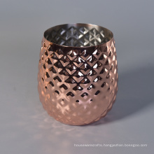 Custom Luxury Pineapple Shape Metal Stainless Steel Rose Gold Candle Jar for Decor