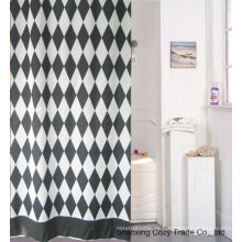 Schwarz + Weiß Stoff Duschvorhang Polyester