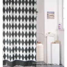 Negro + Cortina de ducha de tela blanca de poliéster