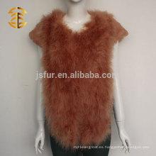 Las últimas señoras colorido de manga corta de Turquía pluma y el abrigo de piel de conejo para las mujeres