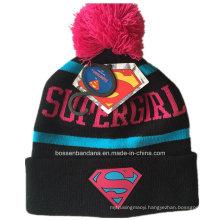 OEM Produce Customized Design Cartoon Knitted Acrylic Jacquard Sports Beanie Hat