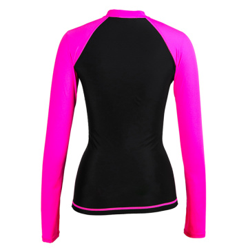 Camiseta de mujer Seaskin Zip Rash Guard Top manga larga