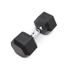 45LB Black Rubber Hex Dumbbell