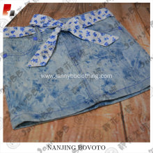 New styles with printed sash denim girl shorts